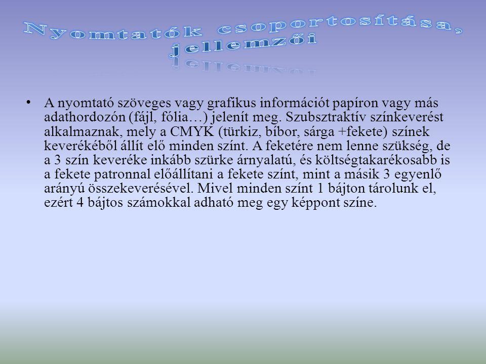 A nyomtató szöveges vagy grafikus információt papíron vagy más adathordozón (fájl, fólia…) jelenít meg. Szubsztraktív színkeverést alkalmaznak, mely a