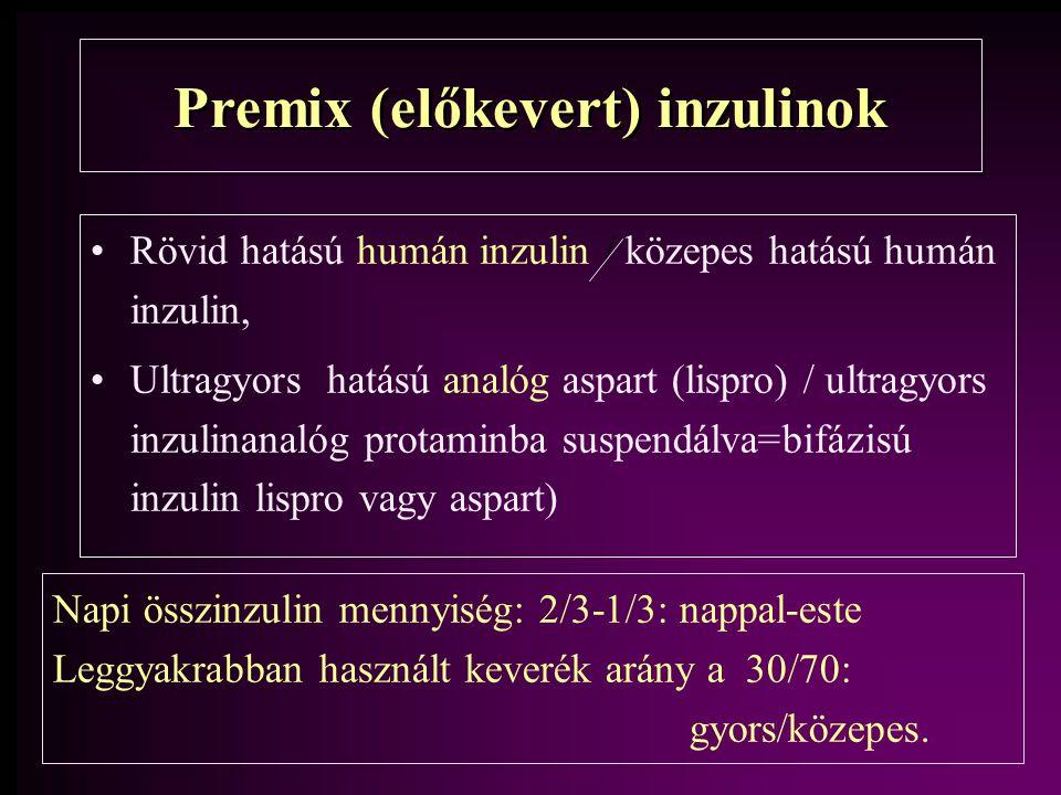 Premix (előkevert) inzulinok Rövid hatású humán inzulin / közepes hatású humán inzulin, Ultragyors hatású analóg aspart (lispro) / ultragyors inzulina