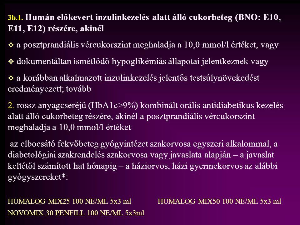 3b.1. Humán előkevert inzulinkezelés alatt álló cukorbeteg (BNO: E10, E11, E12) részére, akinél   a posztprandiális vércukorszint meghaladja a 10,0
