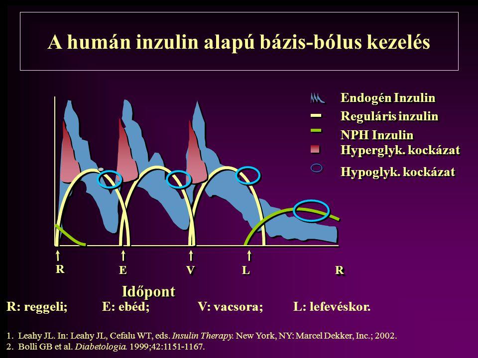 A humán inzulin alapú bázis-bólus kezelés R: reggeli; E: ebéd; V: vacsora; L: lefevéskor. 1.Leahy JL. In: Leahy JL, Cefalu WT, eds. Insulin Therapy. N