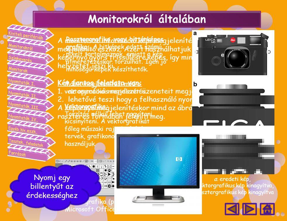 A monitor az információ képi megjelenítését szolgálja, elsődleges megjelenítő eszköz. Azért használhatjuk munkánk során, mert a képernyő gyors frissül