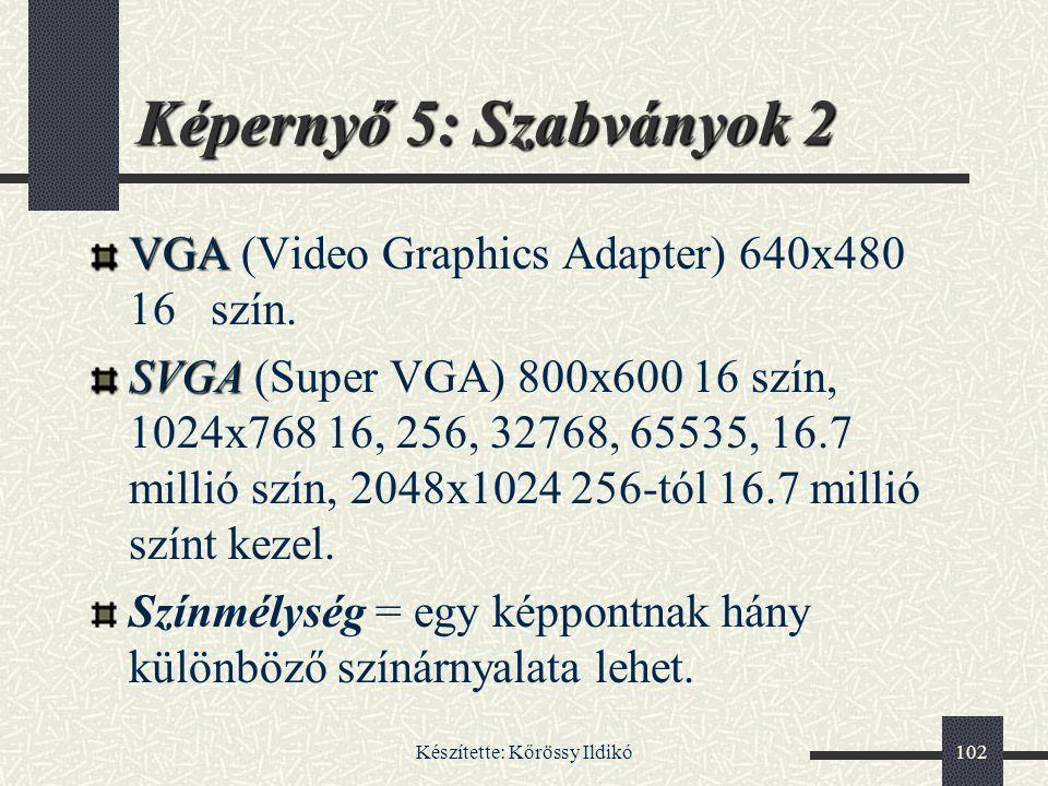 Készítette: Kőrössy Ildikó102 Képernyő 5: Szabványok 2 VGA VGA (Video Graphics Adapter) 640x480 16 szín. SVGA SVGA (Super VGA) 800x600 16 szín, 1024x7