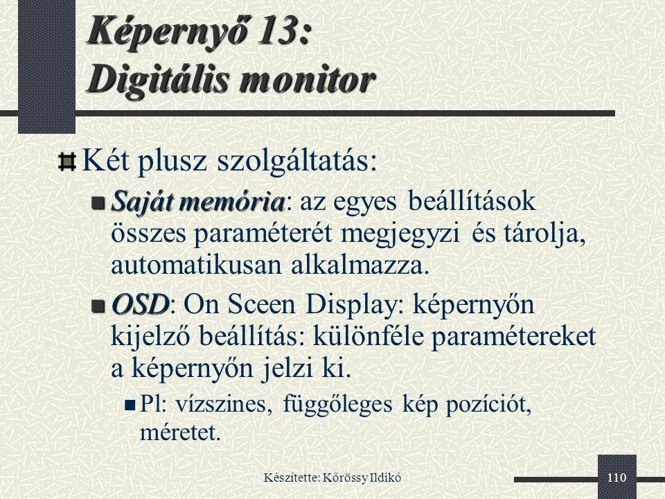 Készítette: Kőrössy Ildikó110 Két plusz szolgáltatás: Saját memória Saját memória: az egyes beállítások összes paraméterét megjegyzi és tárolja, autom