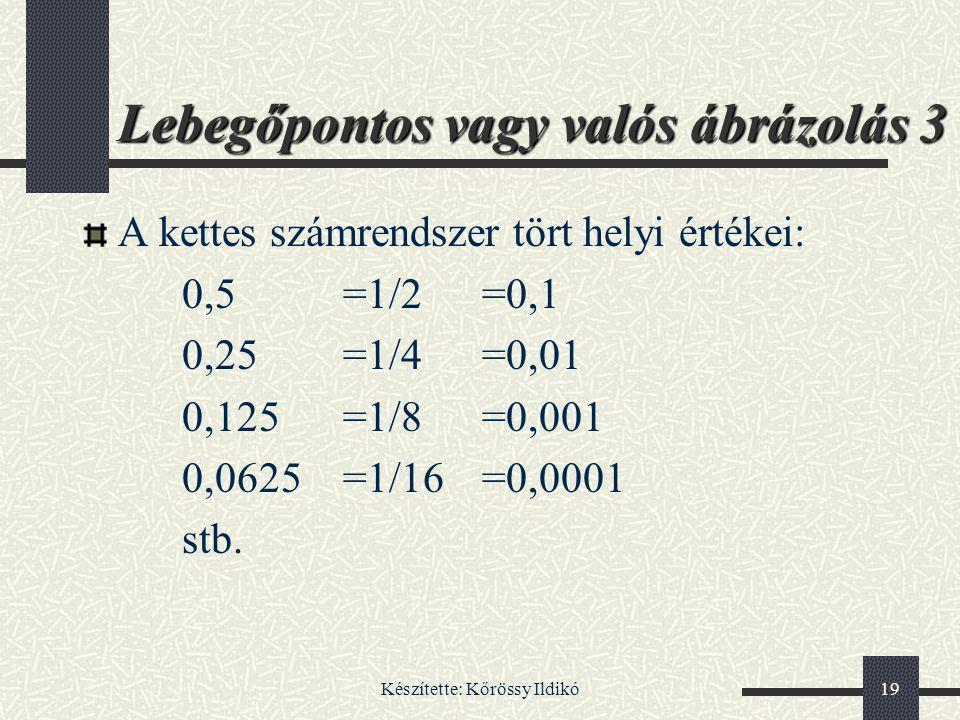 Készítette: Kőrössy Ildikó19 Lebegőpontos vagy valós ábrázolás 3 A kettes számrendszer tört helyi értékei: 0,5=1/2=0,1 0,25=1/4=0,01 0,125=1/8=0,001 0