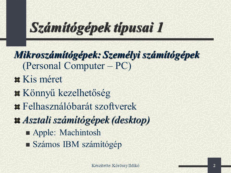 Készítette: Kőrössy Ildikó103 Képernyő 6: Szabványok 3 Típus neveFelbont.