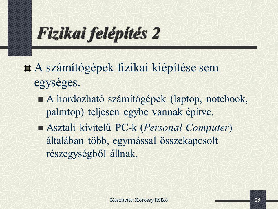 Készítette: Kőrössy Ildikó25 Fizikai felépítés 2 A számítógépek fizikai kiépítése sem egységes. A hordozható számítógépek (laptop, notebook, palmtop)