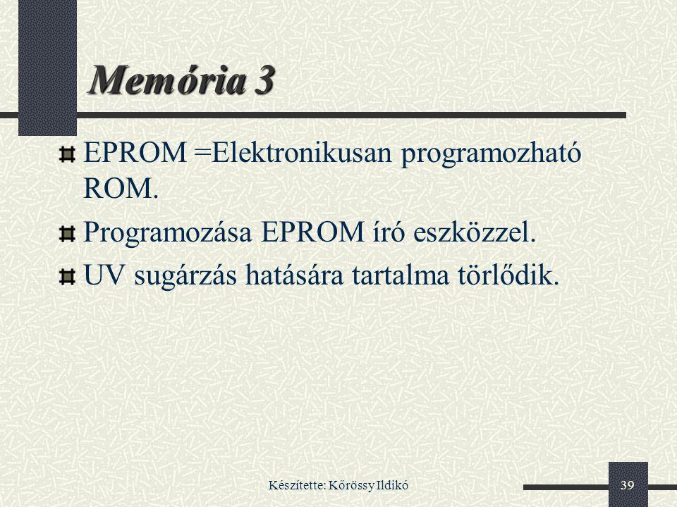 Készítette: Kőrössy Ildikó39 Memória 3 EPROM =Elektronikusan programozható ROM. Programozása EPROM író eszközzel. UV sugárzás hatására tartalma törlőd
