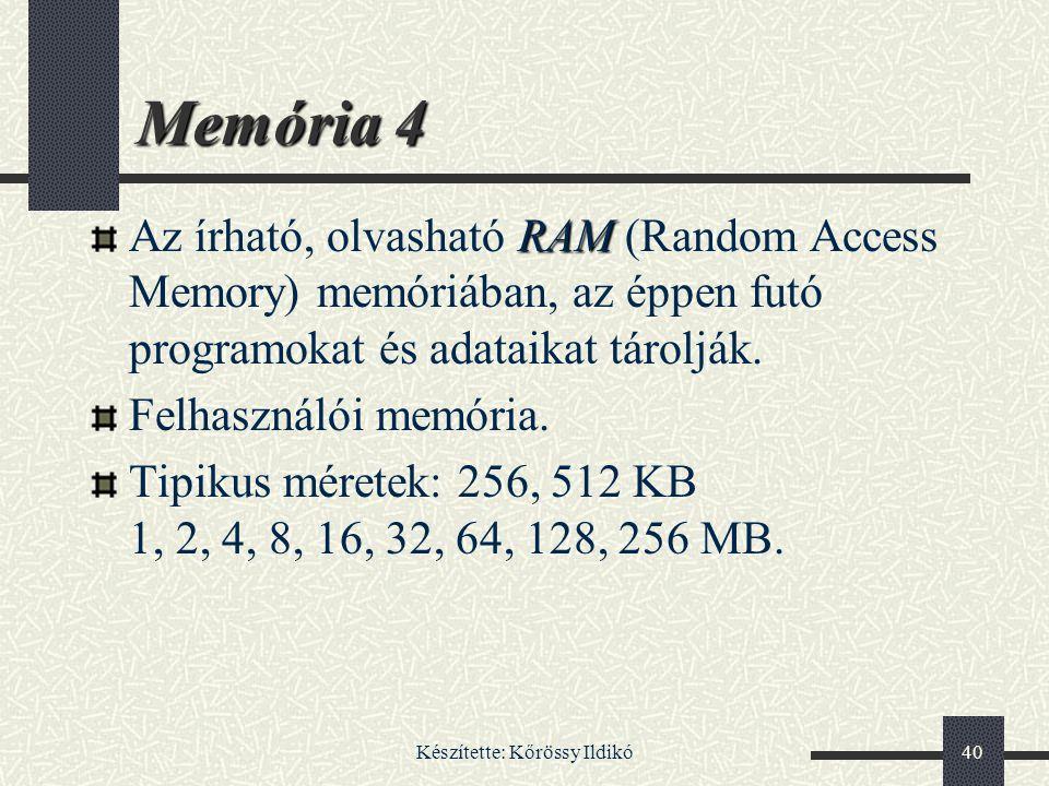 Készítette: Kőrössy Ildikó40 Memória 4 RAM Az írható, olvasható RAM (Random Access Memory) memóriában, az éppen futó programokat és adataikat tárolják