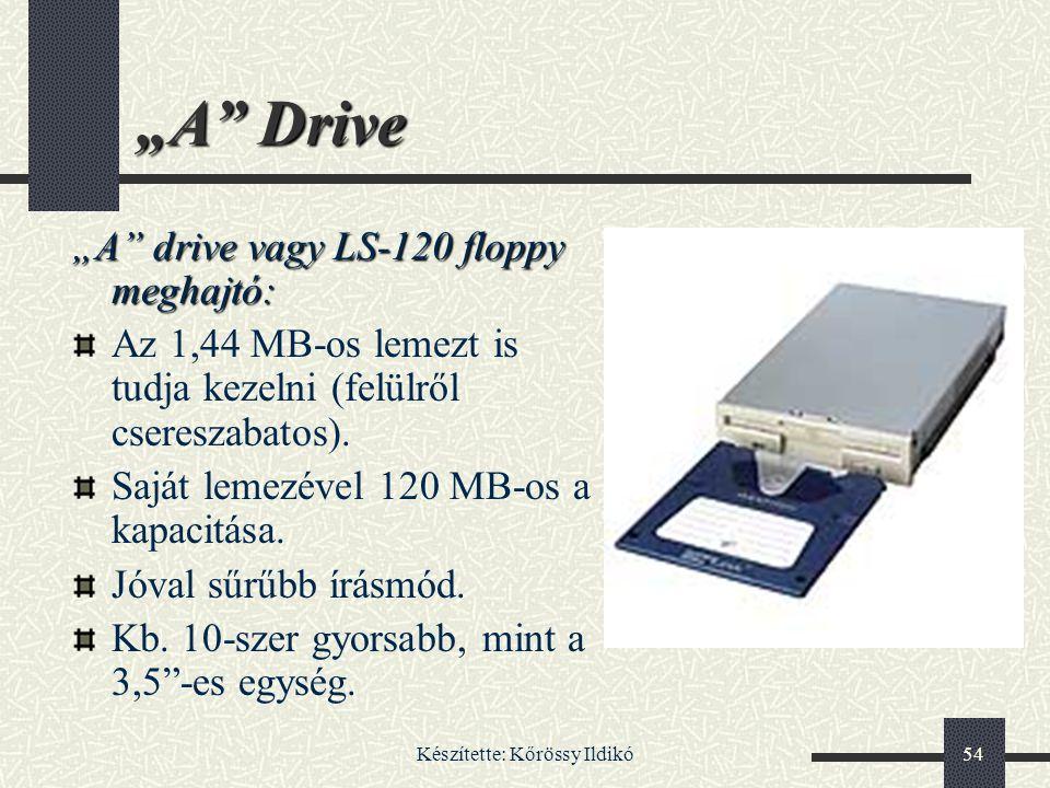 """Készítette: Kőrössy Ildikó54 """"A"""" Drive """"A"""" drive vagy LS-120 floppy meghajtó: Az 1,44 MB-os lemezt is tudja kezelni (felülről csereszabatos). Saját le"""