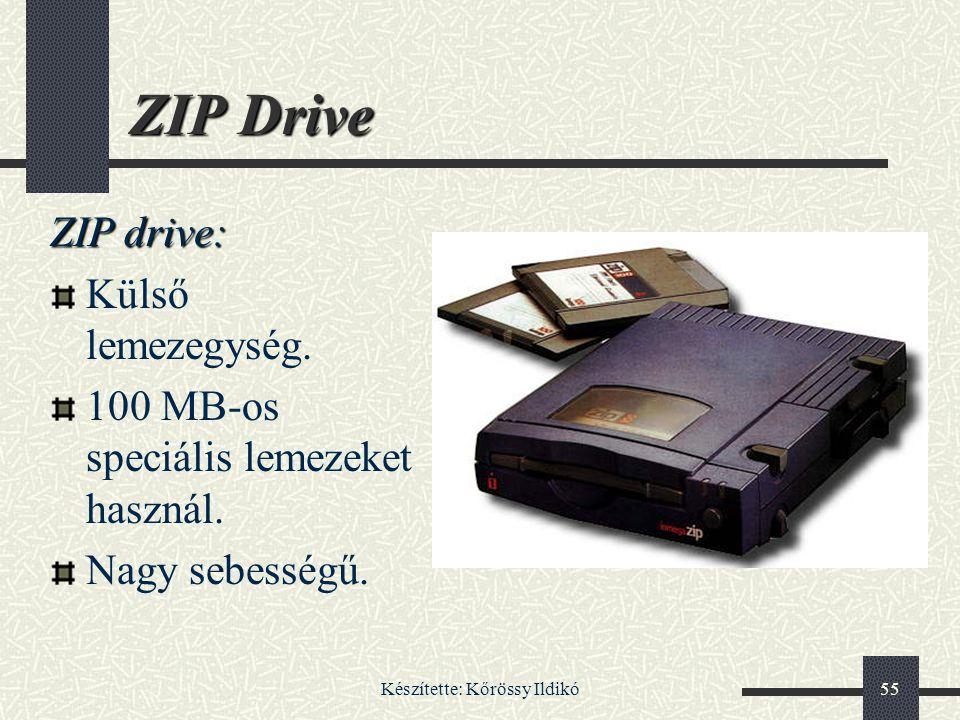 Készítette: Kőrössy Ildikó55 ZIP Drive ZIP drive: Külső lemezegység. 100 MB-os speciális lemezeket használ. Nagy sebességű.