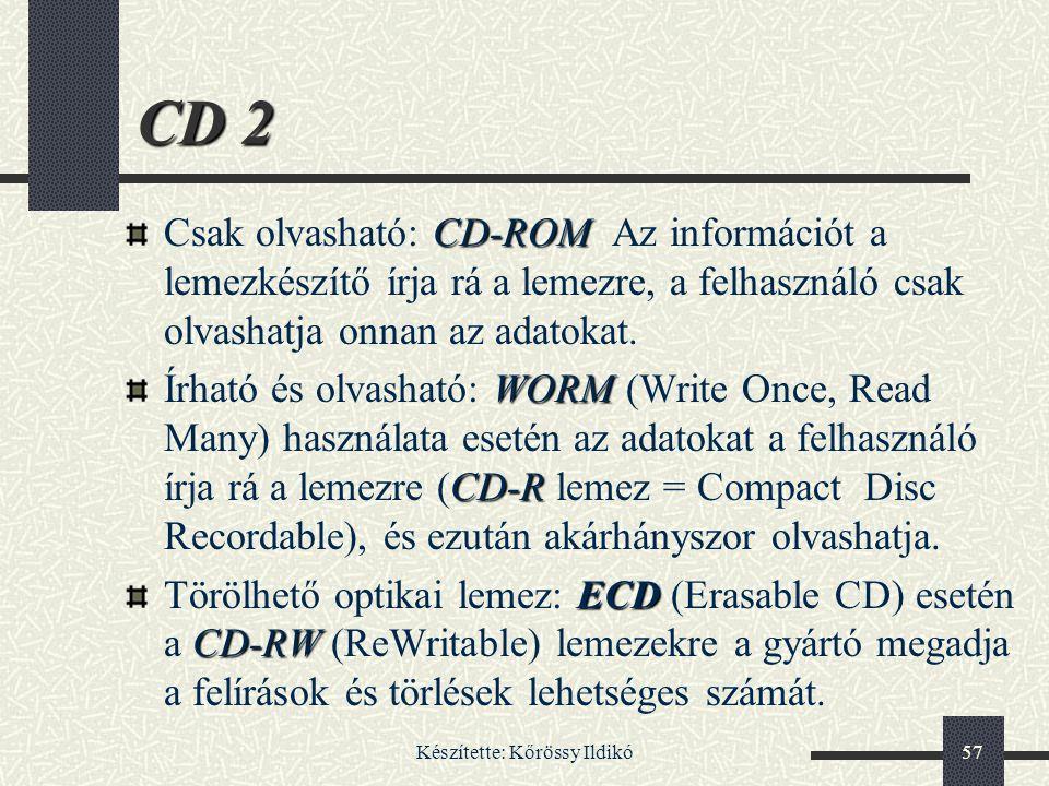 Készítette: Kőrössy Ildikó57 CD 2 CD-ROM Csak olvasható: CD-ROM Az információt a lemezkészítő írja rá a lemezre, a felhasználó csak olvashatja onnan a