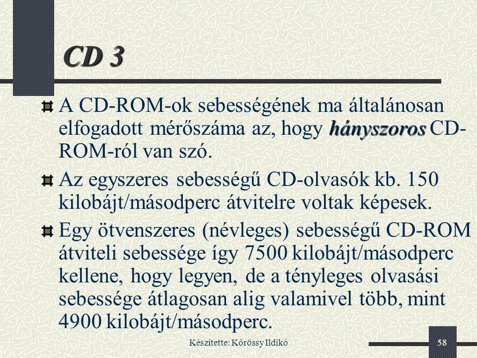 Készítette: Kőrössy Ildikó58 CD 3 hányszoros A CD-ROM-ok sebességének ma általánosan elfogadott mérőszáma az, hogy hányszoros CD- ROM-ról van szó. Az