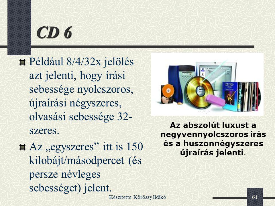 Készítette: Kőrössy Ildikó61 CD 6 Például 8/4/32x jelölés azt jelenti, hogy írási sebessége nyolcszoros, újraírási négyszeres, olvasási sebessége 32-