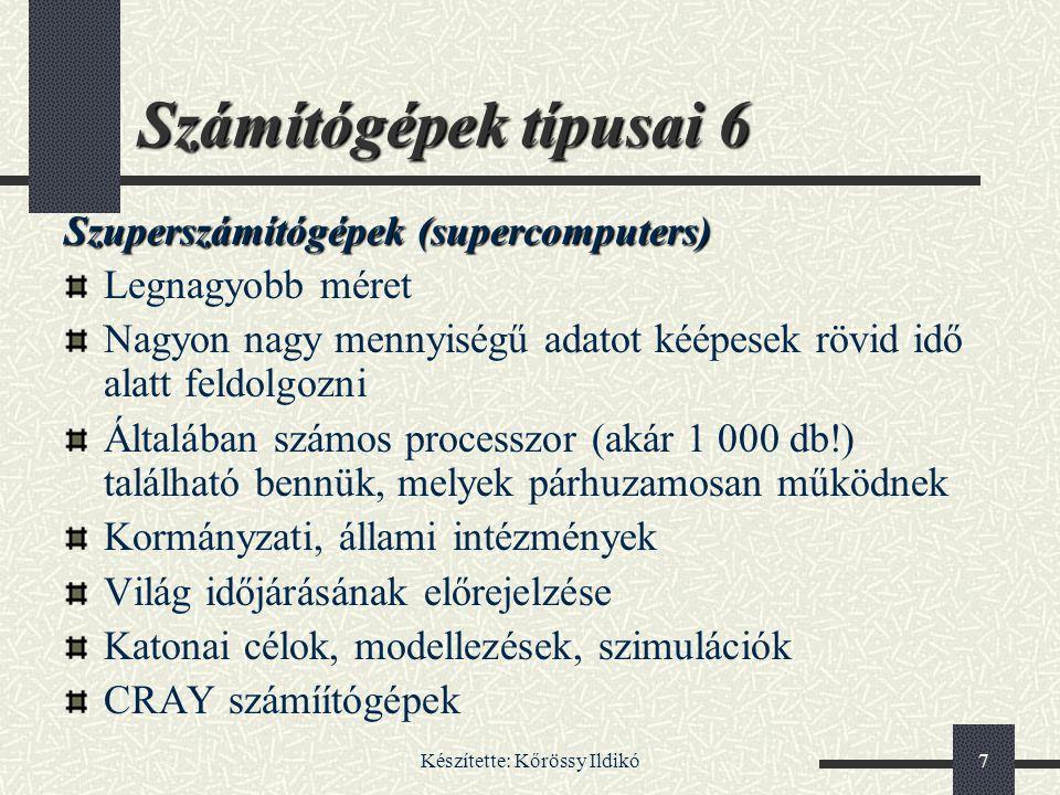 Készítette: Kőrössy Ildikó78 Szkenner 4 A szkennereknek több nagy családját különböztetjük meg a másodlagos szkennelési irány szerint: kézi szkenner lapáthúzós szkenner Dobszkenner Diaszkenner síkágyas szkenner