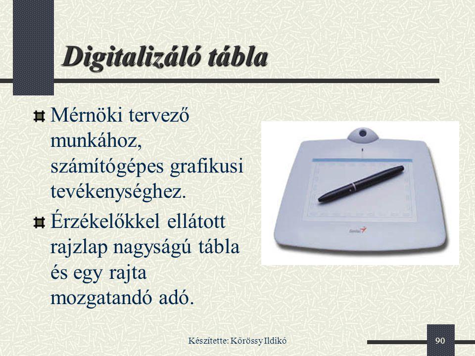 Készítette: Kőrössy Ildikó90 Digitalizáló tábla Mérnöki tervező munkához, számítógépes grafikusi tevékenységhez. Érzékelőkkel ellátott rajzlap nagyság