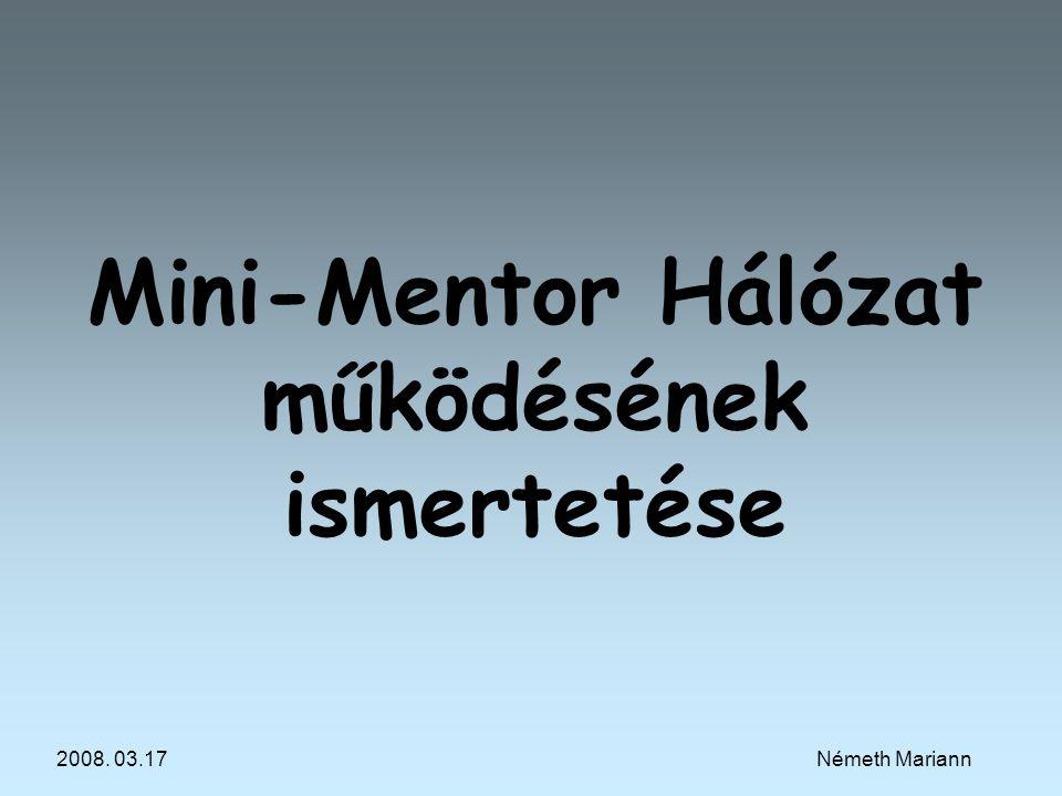 2008. 03.17Németh Mariann Mini-Mentor Hálózat működésének ismertetése