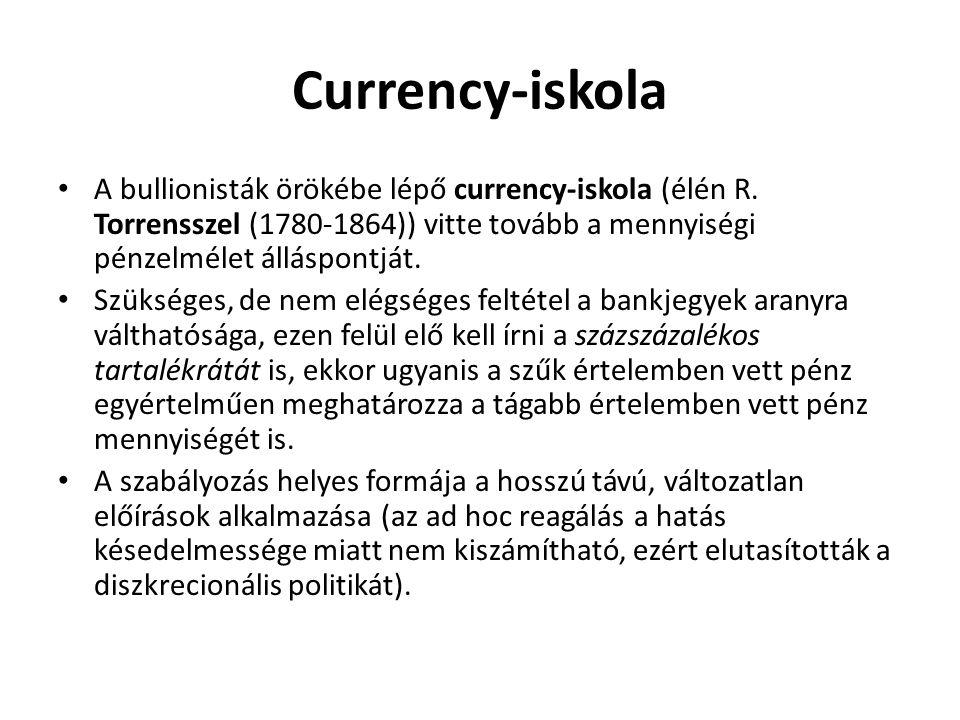 Currency-iskola A bullionisták örökébe lépő currency-iskola (élén R. Torrensszel (1780-1864)) vitte tovább a mennyiségi pénzelmélet álláspontját. Szük