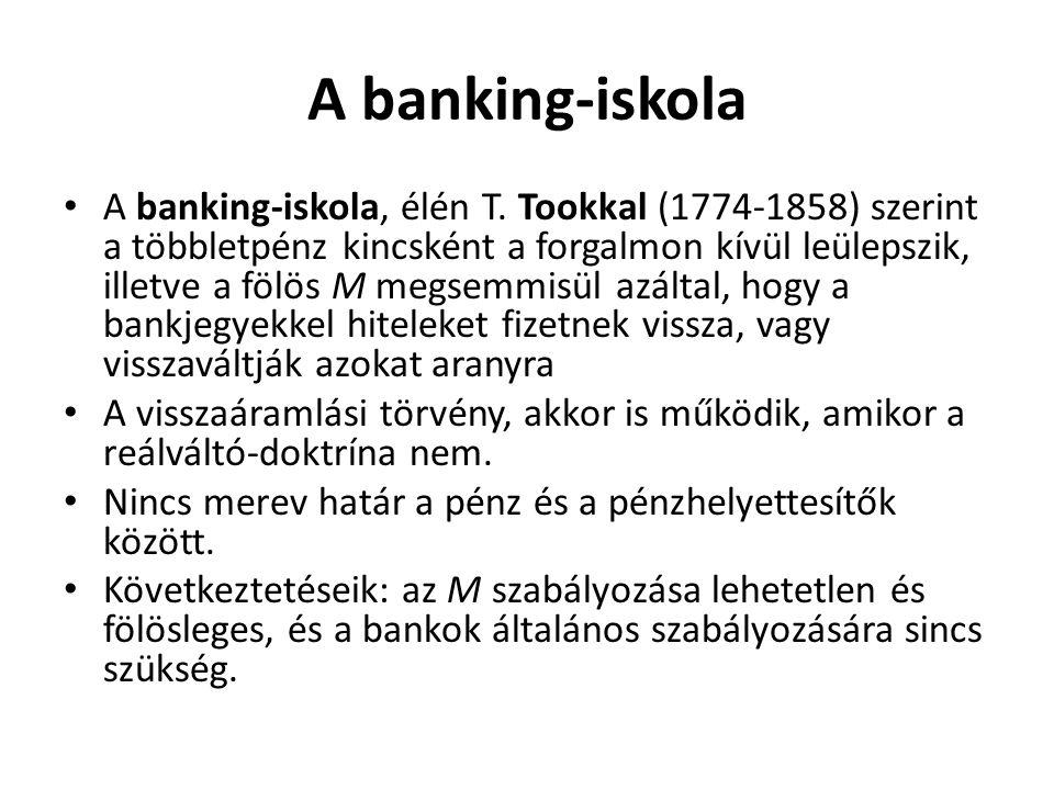 A banking-iskola A banking-iskola, élén T. Tookkal (1774-1858) szerint a többletpénz kincsként a forgalmon kívül leülepszik, illetve a fölös M megsemm