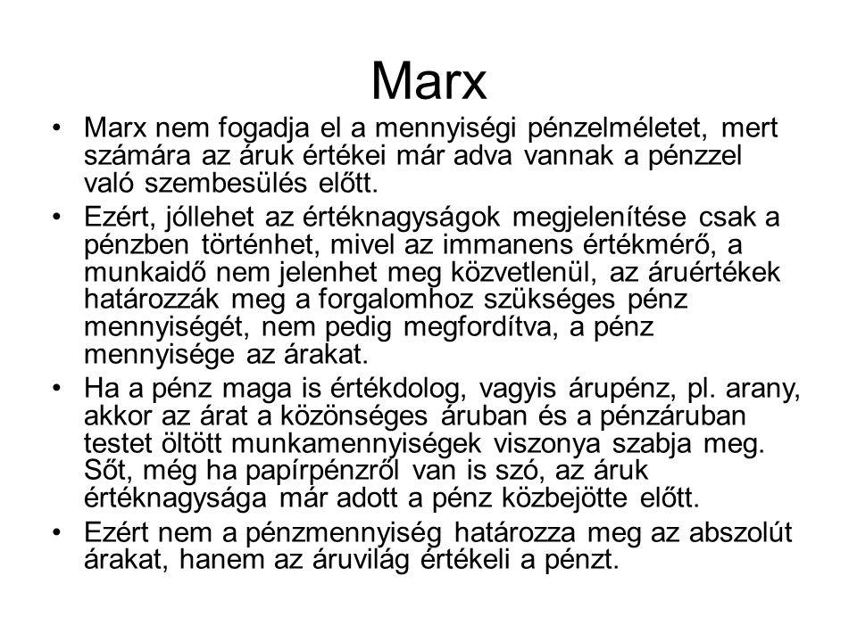 Marx Marx nem fogadja el a mennyiségi pénzelméletet, mert számára az áruk értékei már adva vannak a pénzzel való szembesülés előtt. Ezért, jóllehet az