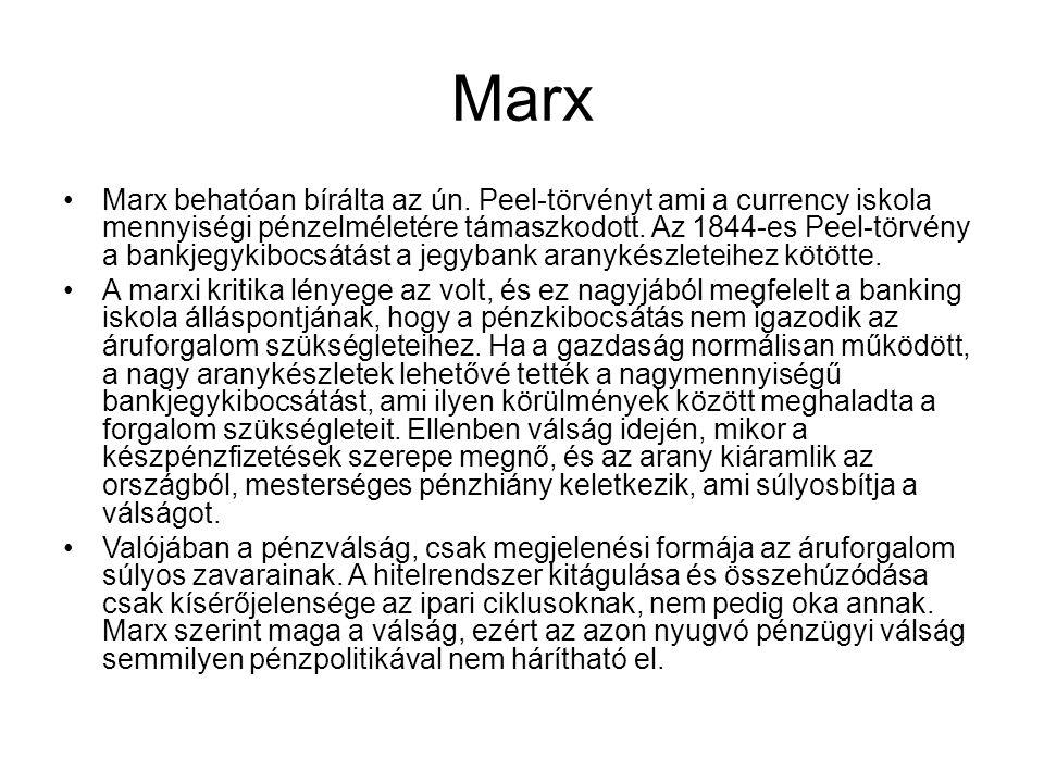Marx Marx behatóan bírálta az ún. Peel-törvényt ami a currency iskola mennyiségi pénzelméletére támaszkodott. Az 1844-es Peel-törvény a bankjegykibocs
