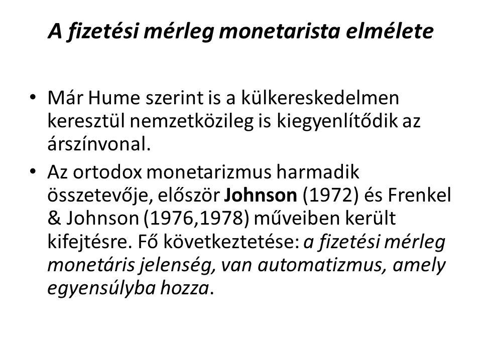 A fizetési mérleg monetarista elmélete Már Hume szerint is a külkereskedelmen keresztül nemzetközileg is kiegyenlítődik az árszínvonal. Az ortodox mon