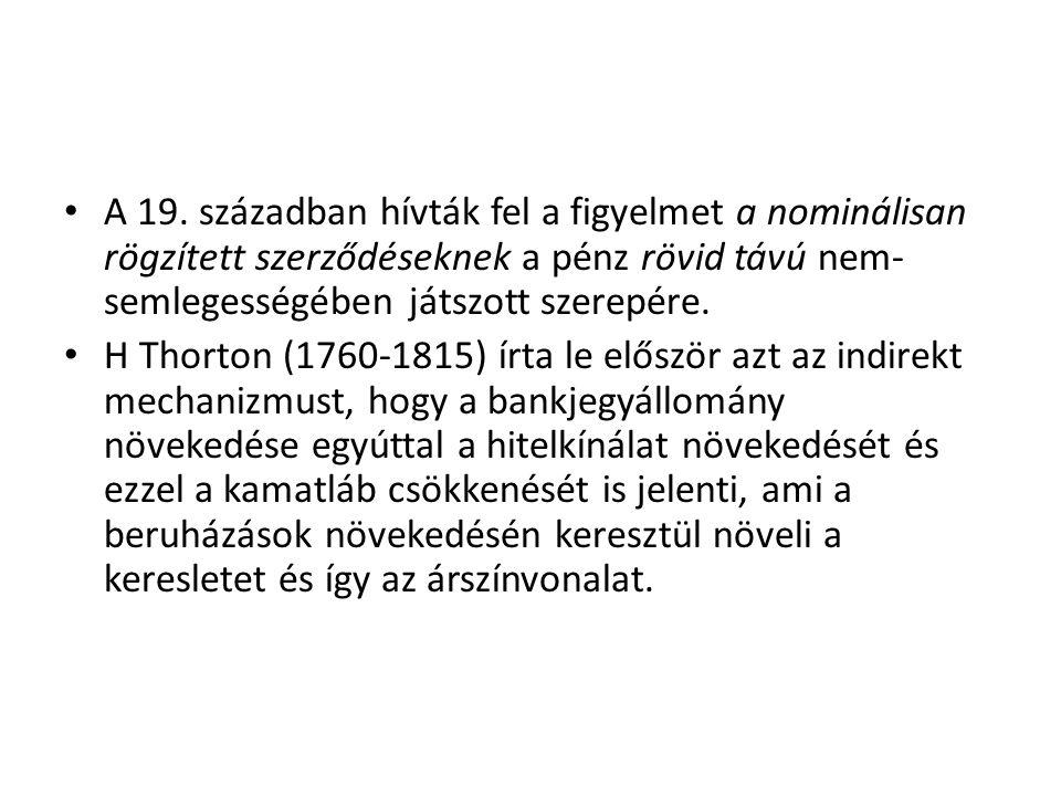 A 19. században hívták fel a figyelmet a nominálisan rögzített szerződéseknek a pénz rövid távú nem- semlegességében játszott szerepére. H Thorton (17