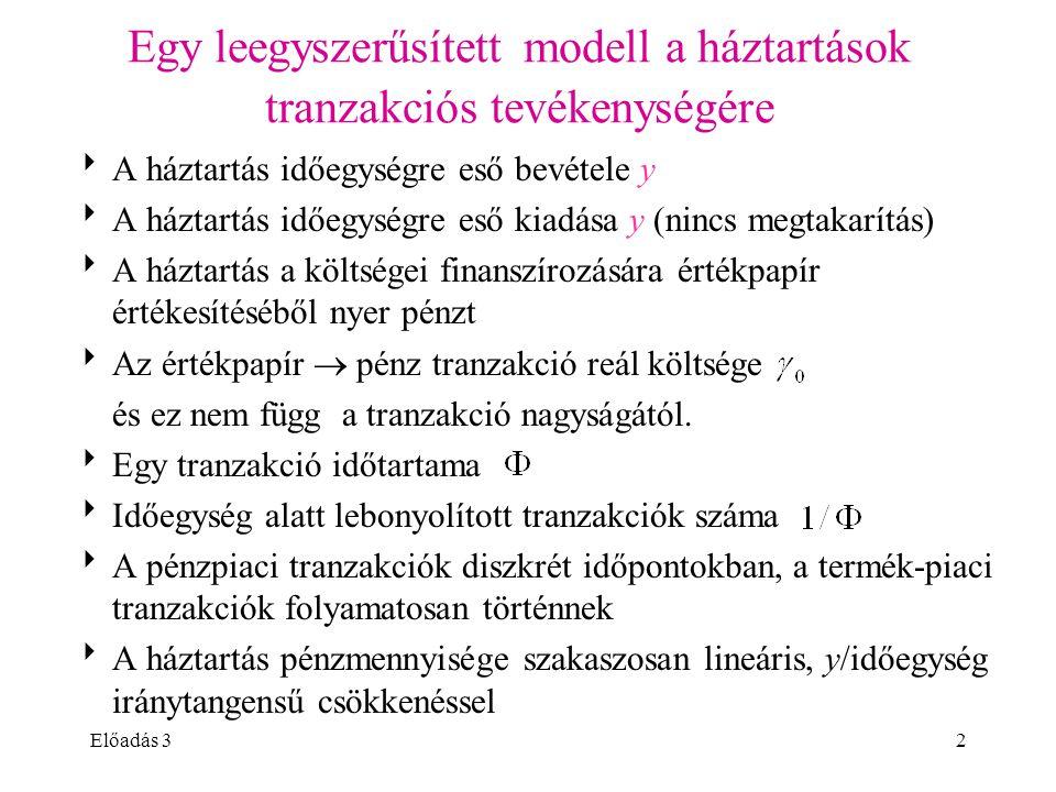 Előadás 32 Egy leegyszerűsített modell a háztartások tranzakciós tevékenységére  A háztartás időegységre eső bevétele y  A háztartás időegységre eső
