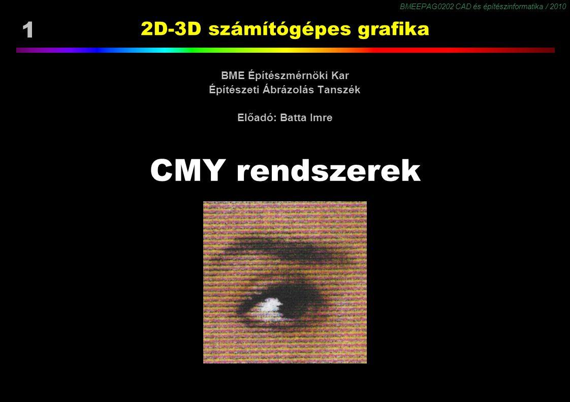 BMEEPAG0202 CAD és építészinformatika / 2010 1 2D-3D számítógépes grafika BME Építészmérnöki Kar Építészeti Ábrázolás Tanszék Előadó: Batta Imre CMY r