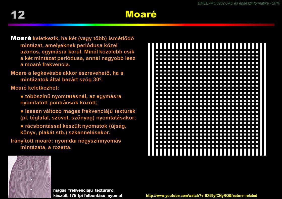 BMEEPAG0202 CAD és építészinformatika / 2010 12 Moaré Moaré keletkezik, ha két (vagy több) ismétlődő mintázat, amelyeknek periódusa közel azonos, egym