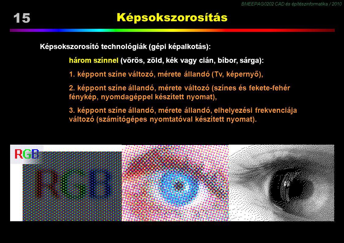 BMEEPAG0202 CAD és építészinformatika / 2010 15 Képsokszorosítás Képsokszorosító technológiák (gépi képalkotás): három színnel (vörös, zöld, kék vagy