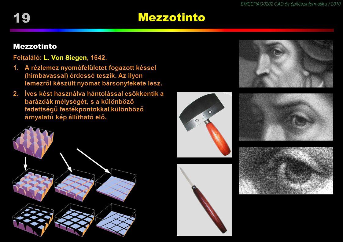 BMEEPAG0202 CAD és építészinformatika / 2010 19 Mezzotinto Feltaláló: L. Von Siegen, 1642. 1.A rézlemez nyomófelületet fogazott késsel (himbavassal) é