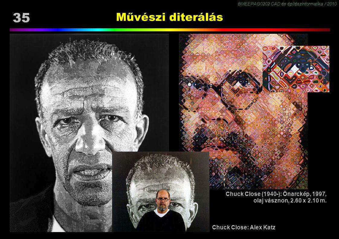 BMEEPAG0202 CAD és építészinformatika / 2010 35 Művészi diterálás Chuck Close (1940-): Önarckép, 1997, olaj vásznon, 2.60 x 2.10 m. Chuck Close: Alex