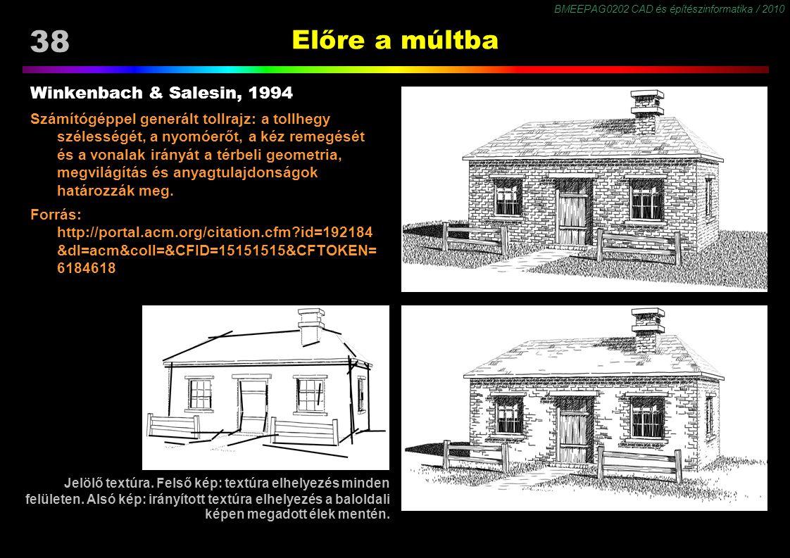 BMEEPAG0202 CAD és építészinformatika / 2010 38 Előre a múltba Winkenbach & Salesin, 1994 Számítógéppel generált tollrajz: a tollhegy szélességét, a n