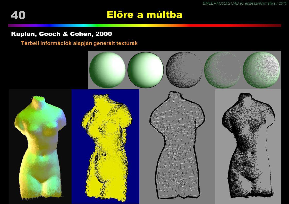 BMEEPAG0202 CAD és építészinformatika / 2010 40 Előre a múltba Kaplan, Gooch & Cohen, 2000 Térbeli információk alapján generált textúrák