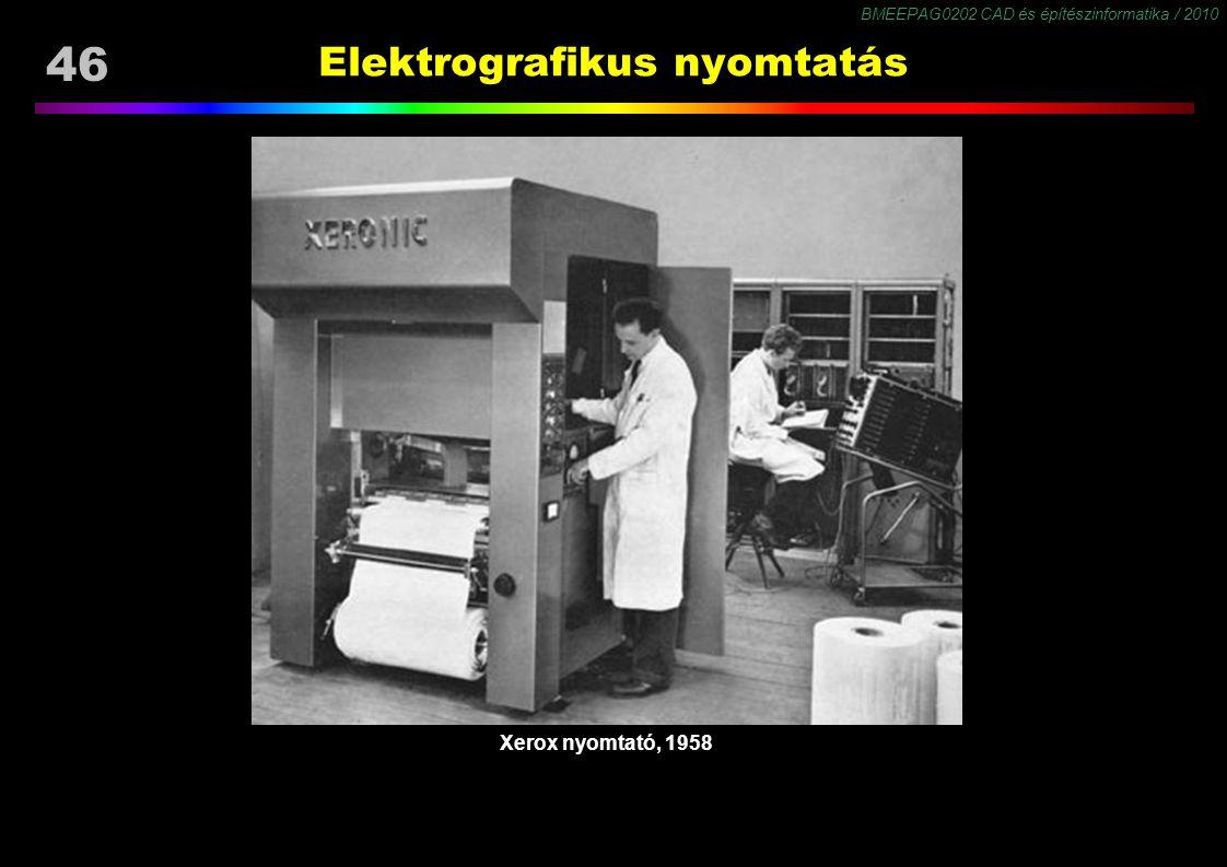 BMEEPAG0202 CAD és építészinformatika / 2010 46 Elektrografikus nyomtatás Xerox nyomtató, 1958