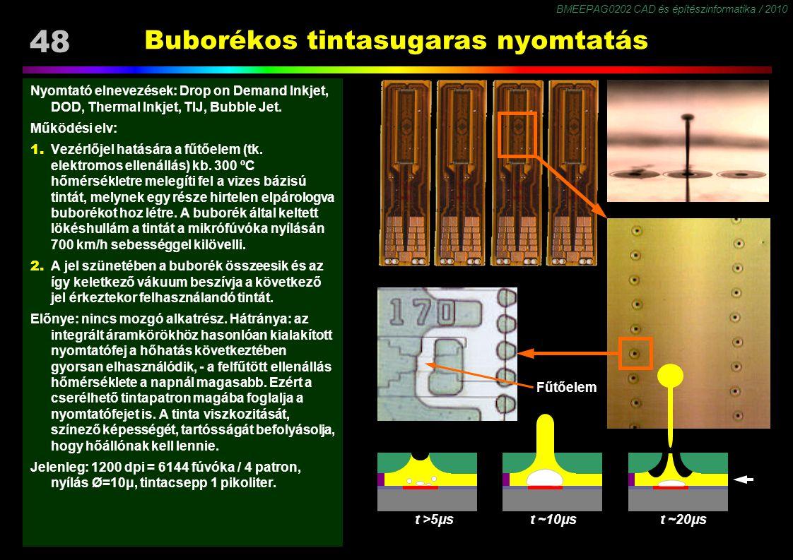 BMEEPAG0202 CAD és építészinformatika / 2010 48 Buborékos tintasugaras nyomtatás Nyomtató elnevezések: Drop on Demand Inkjet, DOD, Thermal Inkjet, TIJ