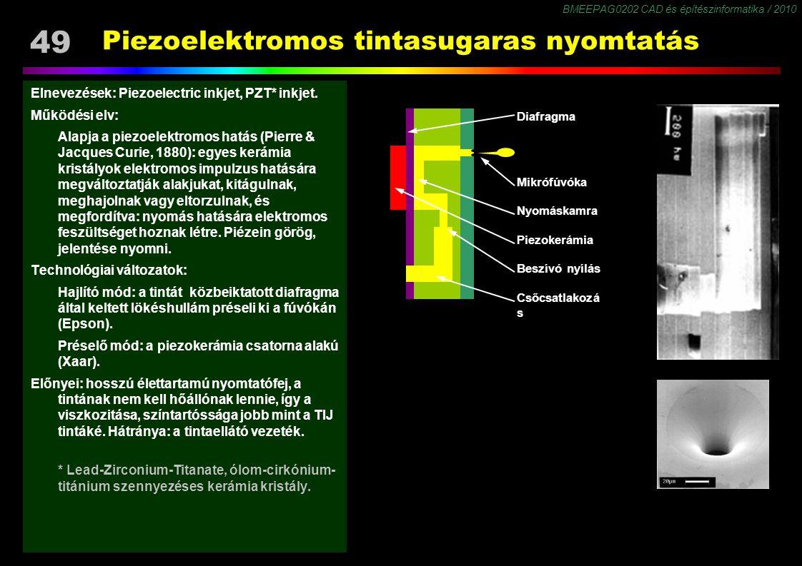 BMEEPAG0202 CAD és építészinformatika / 2010 49 Piezoelektromos tintasugaras nyomtatás Elnevezések: Piezoelectric inkjet, PZT* inkjet. Működési elv: A