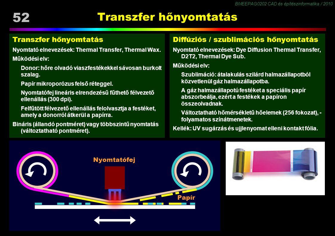 BMEEPAG0202 CAD és építészinformatika / 2010 52 Transzfer hőnyomtatás Nyomtató elnevezések: Thermal Transfer, Thermal Wax. Működési elv: Donor: hőre o
