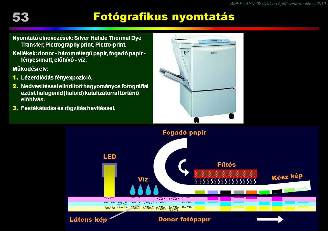 BMEEPAG0202 CAD és építészinformatika / 2010 53 Nyomtató elnevezések: Silver Halide Thermal Dye Transfer, Pictrography print, Pictro-print. Kellékek: