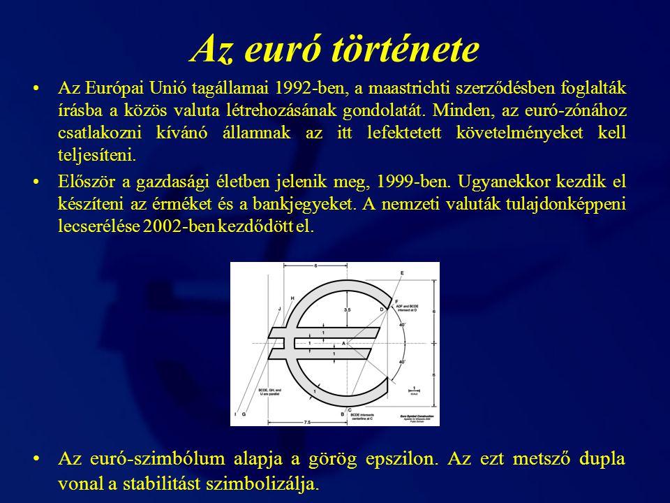 Az érmék Az euró váltópénze a cent.
