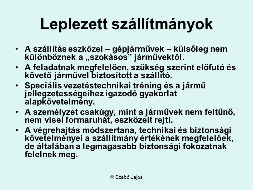 """© Szabó Lajos Leplezett szállítmányok A szállítás eszközei – gépjárművek – külsőleg nem különböznek a """"szokásos járművektől."""