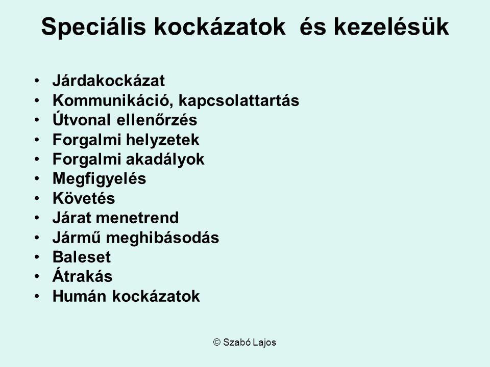 © Szabó Lajos Speciális kockázatok és kezelésük Járdakockázat Kommunikáció, kapcsolattartás Útvonal ellenőrzés Forgalmi helyzetek Forgalmi akadályok M