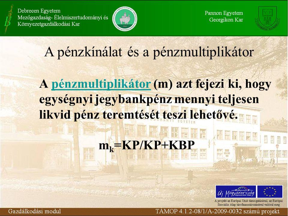 A pénzmultiplikátor (m) azt fejezi ki, hogy egységnyi jegybankpénz mennyi teljesen likvid pénz teremtését teszi lehetővé. m k =KP/KP+KBP A pénzkínálat