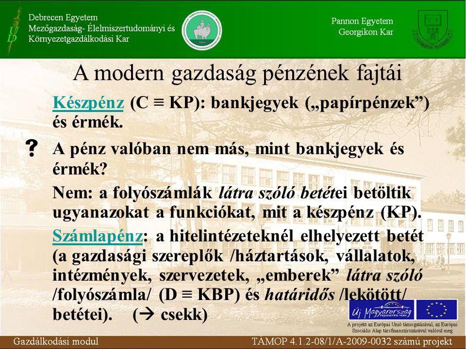 """Készpénz (C ≡ KP): bankjegyek (""""papírpénzek"""") és érmék.  A pénz valóban nem más, mint bankjegyek és érmék? Nem: a folyószámlák látra szóló betétei be"""