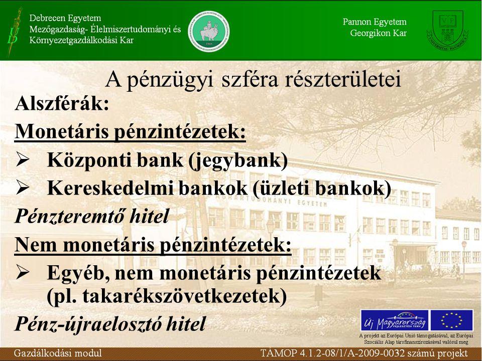 Alszférák: Monetáris pénzintézetek:  Központi bank (jegybank)  Kereskedelmi bankok (üzleti bankok) Pénzteremtő hitel Nem monetáris pénzintézetek: 