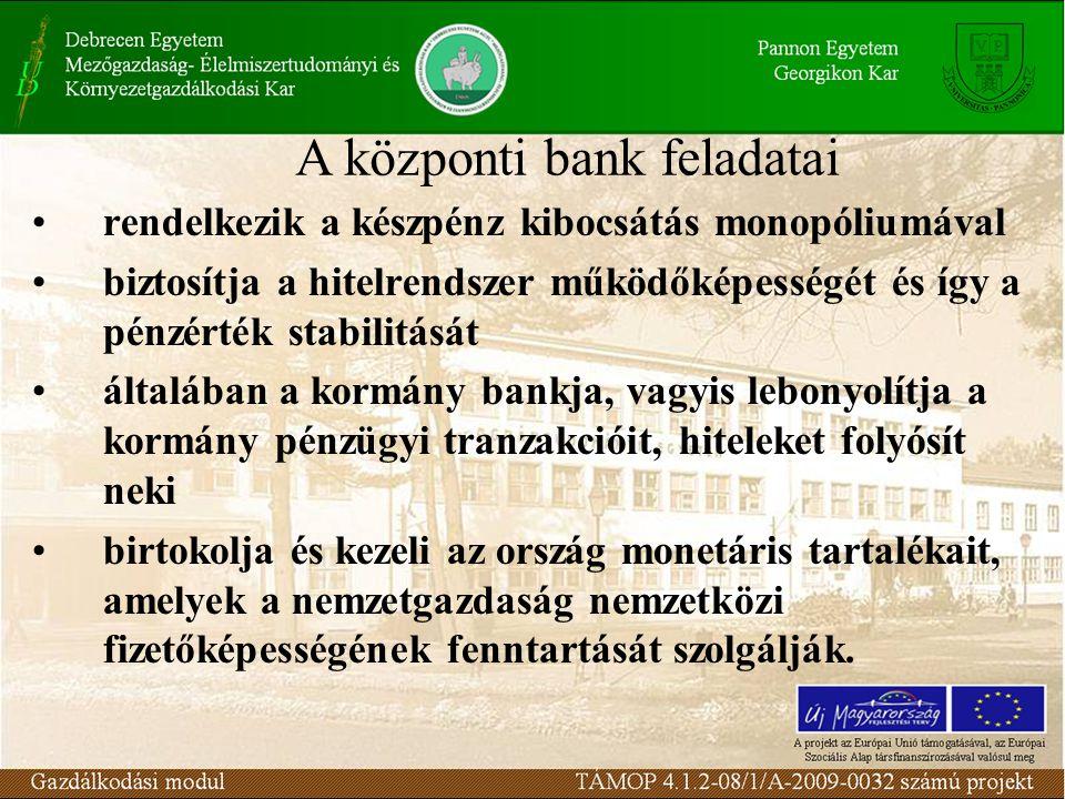 rendelkezik a készpénz kibocsátás monopóliumával biztosítja a hitelrendszer működőképességét és így a pénzérték stabilitását általában a kormány bankj