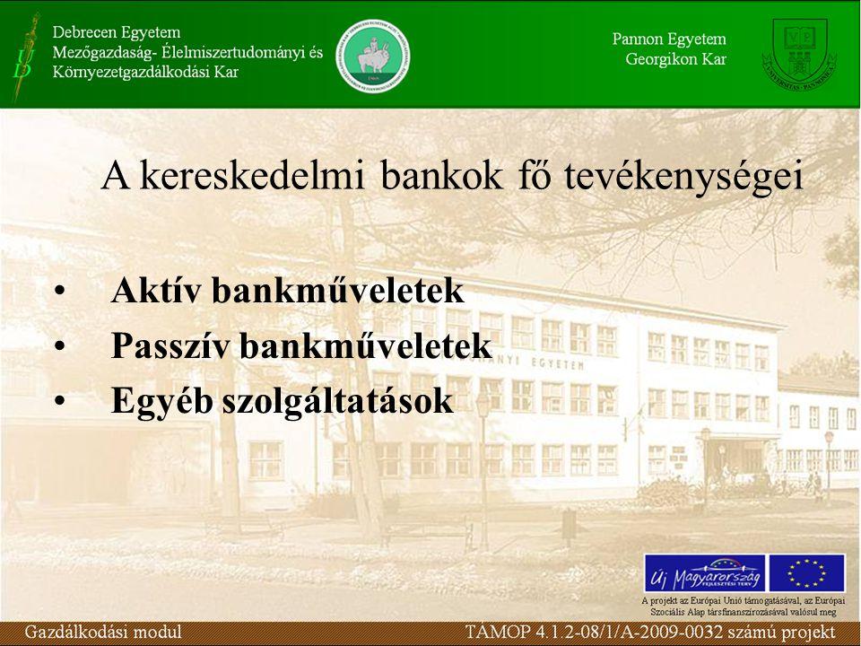 Aktív bankműveletek Passzív bankműveletek Egyéb szolgáltatások A kereskedelmi bankok fő tevékenységei