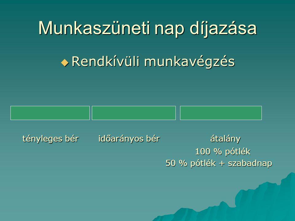 Munkaszüneti nap díjazása  Rendkívüli munkavégzés tényleges bér időarányos bér átalány tényleges bér időarányos bér átalány 100 % pótlék 50 % pótlék