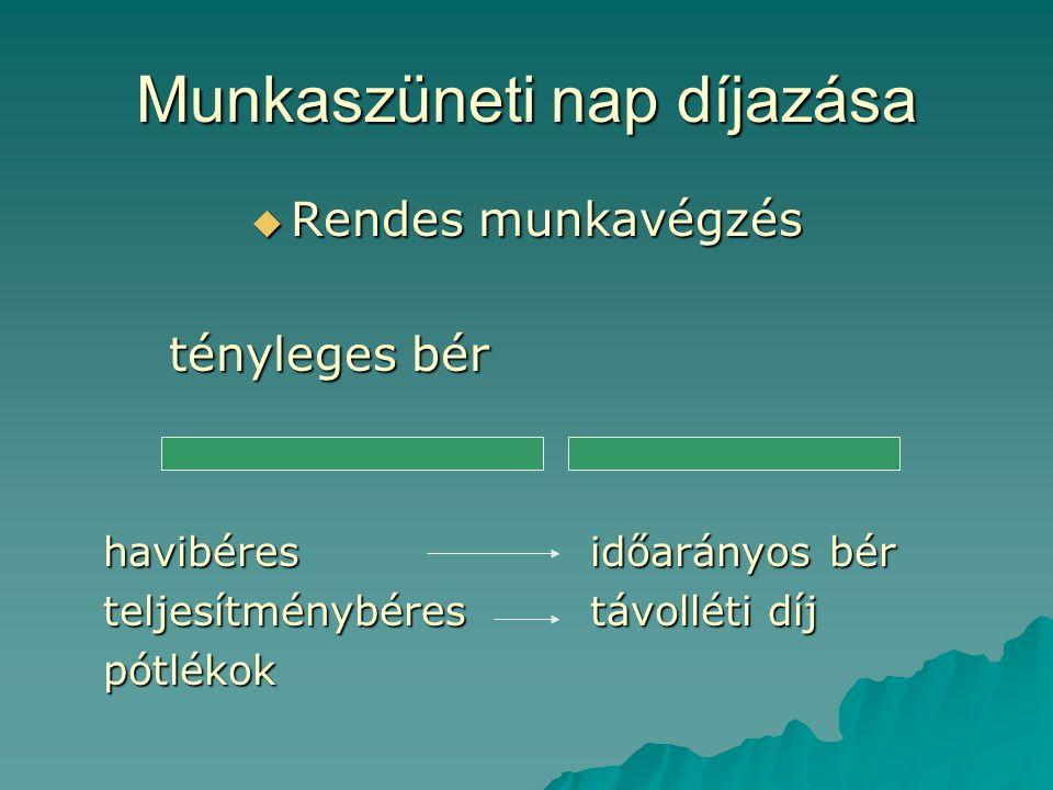 Munkaszüneti nap díjazása  Rendes munkavégzés tényleges bér havibéres időarányos bér teljesítménybérestávolléti díj pótlékok