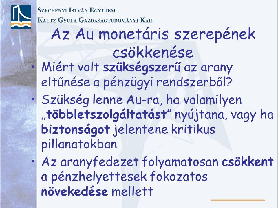 """Az Au monetáris szerepének csökkenése Miért volt szükségszerű az arany eltűnése a pénzügyi rendszerből? Szükség lenne Au-ra, ha valamilyen """"többletszo"""